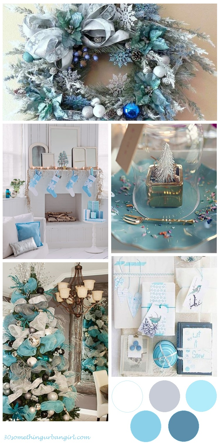 beautiful Christmas color palette idea: mint, turquoise, white and silver
