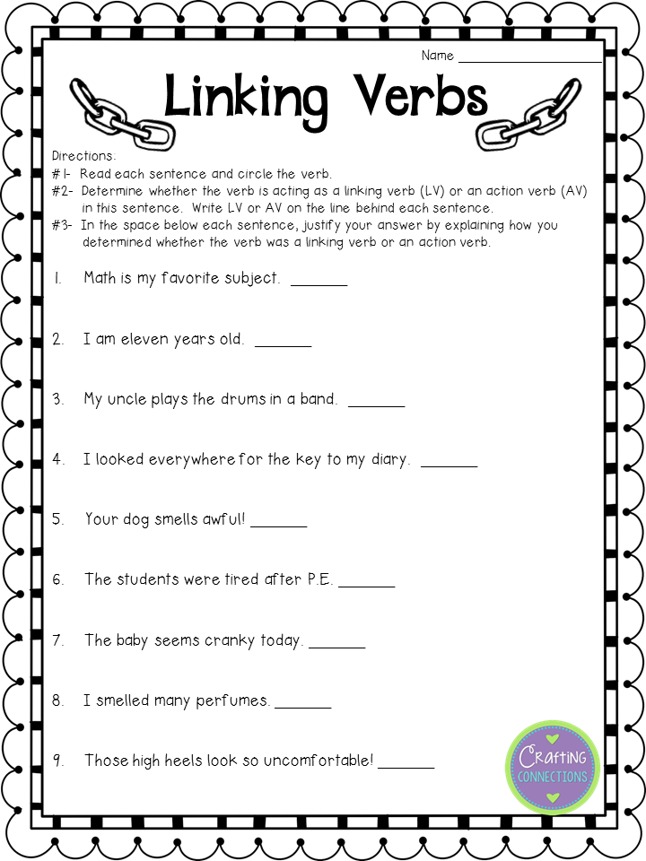Help students understand the function of linking verbs with this anchor chart. Then give your students an opportunity to practice with this FREE worksheet!
