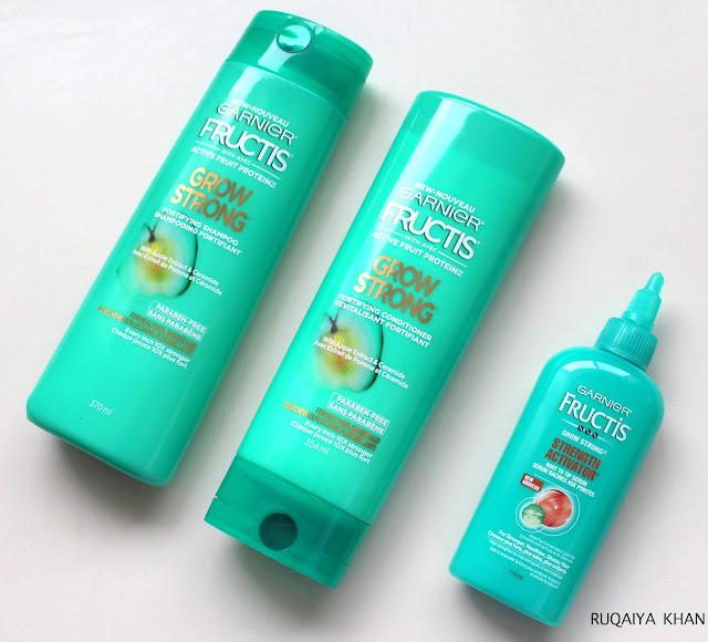 GARNIER NEW FRUCTIS Grow Strong collection Shampoo conditioner and serum