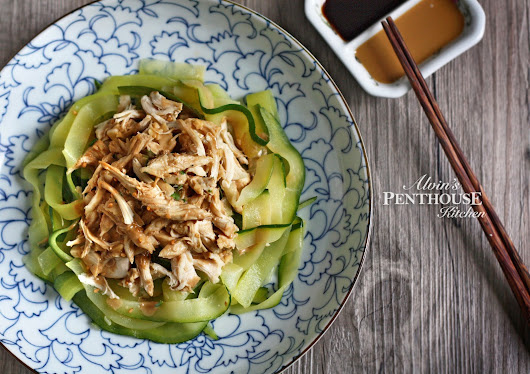 Zoodles with Shredded Chicken and Sesame Sauce