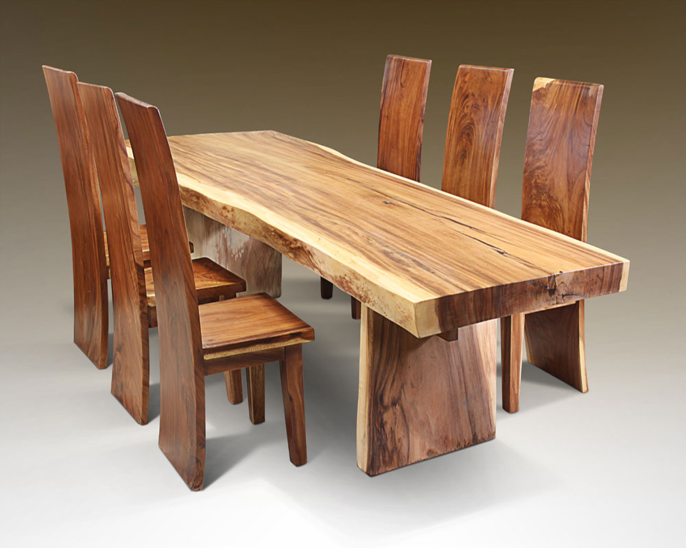 solid wood casual rustic dining room table and chair set solid
