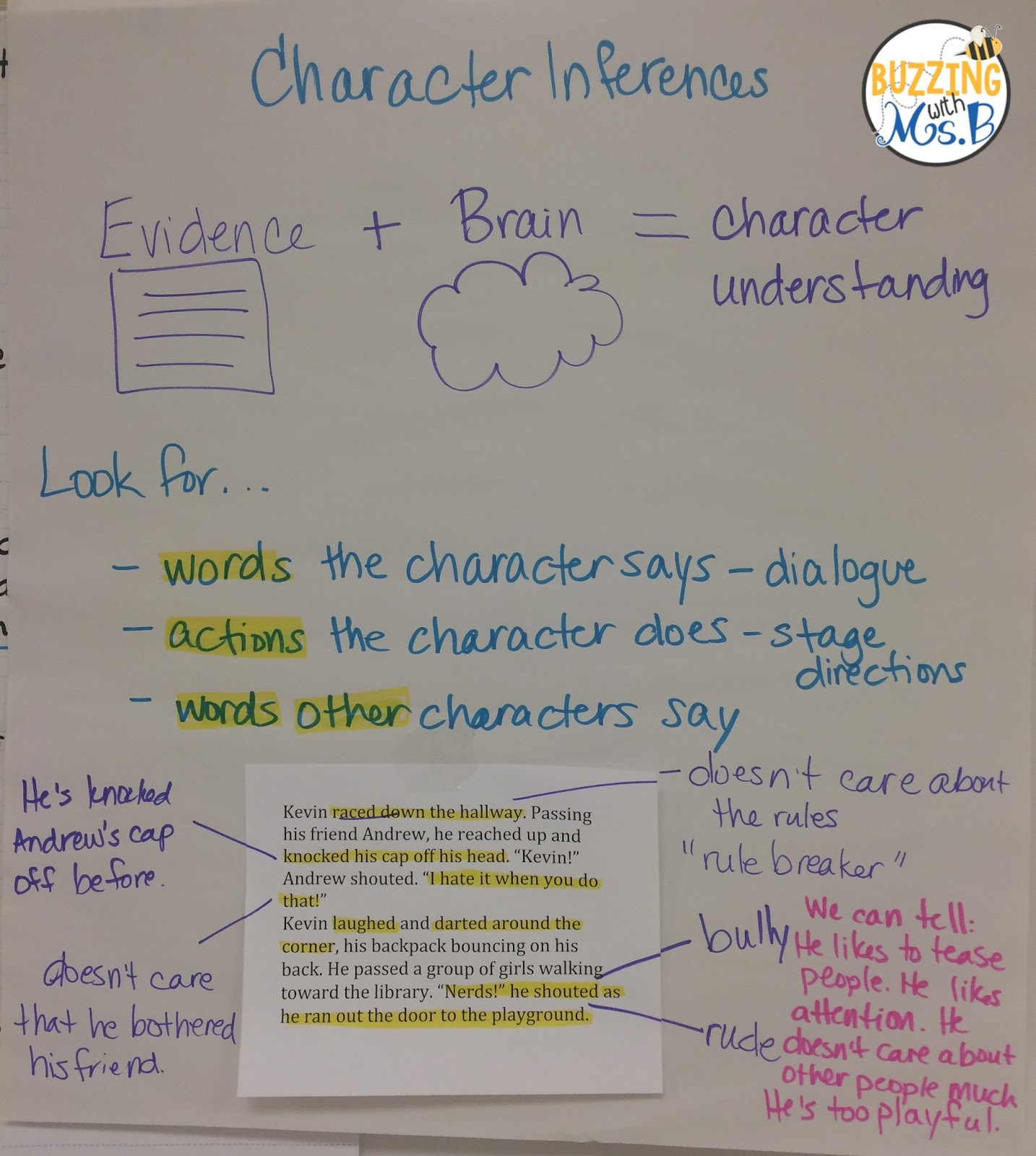 Buzzing With Ms B Making Inferences About Character Traits