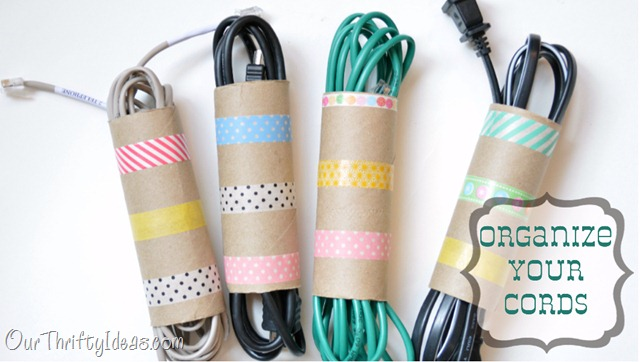 Use FREE toilet paper or paper towel rolls to organize extension cords around the house :: OrganizingMadefun.com
