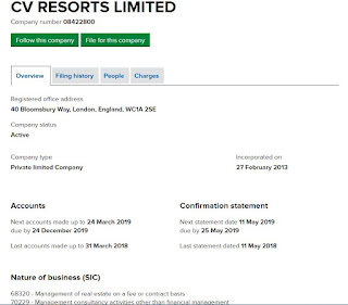 CV Resorts Ltd company registration