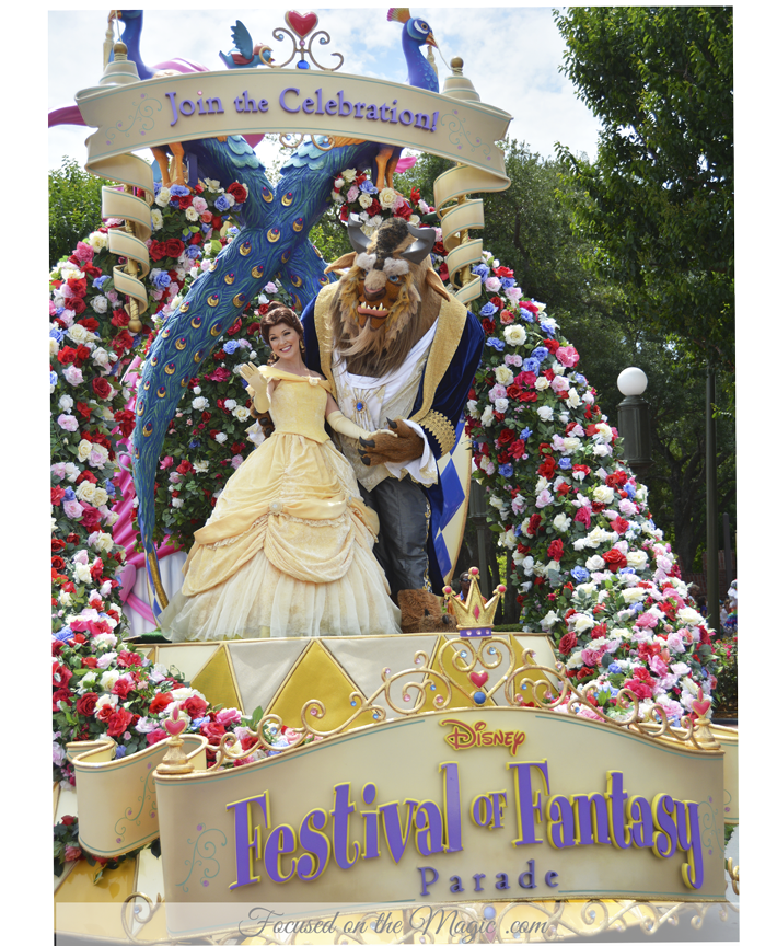 Belle and her Beast in the Festival of Fantasy Parade in Walt Disney World,Florida.