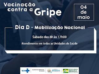 """Dia """"D"""" de Mobilização contra a gripe será neste sábado (4/05)"""
