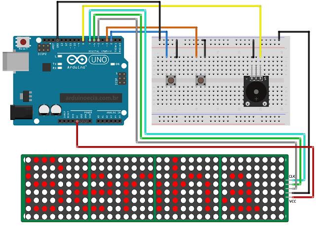 Circuito Arduino Uno e módulo display 8x8 Max7219