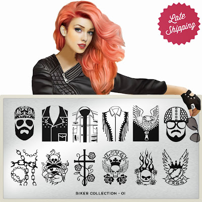Lacquer Lockdown - MoYou London, MoYou London Biker Collection, stamping plates, new stamping plates 2013, new nail image plates 2013, new nail art plates 2013, biker nail art, skull nail art, tattoo nail art, tattoo nails, harley nail art, nails, cute nail art, nail ideas, konad, bundle monster