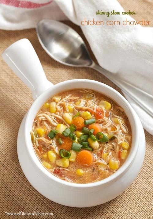 skinny slow cooker chicken corn chowder