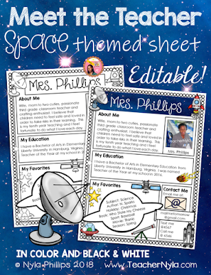 Meet the Teacher Editable Letter Template Space Theme