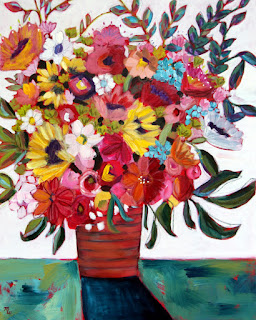 Color My World colorful mixed media floral painting by Pennsylvania artist Merrill Weber