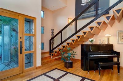 wooden contemporary stairs designs with metal handrails