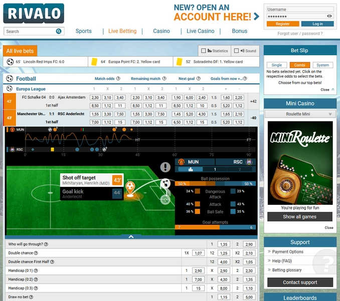 Rivalo Live Betting Screen