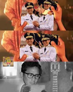 Meme Sandiaga Salahudin Uno Sedih Gagal jadi Cawapres di Pilpres 2019 - Cinta Lama Bersemi Kembali bersama Anies Baswedan