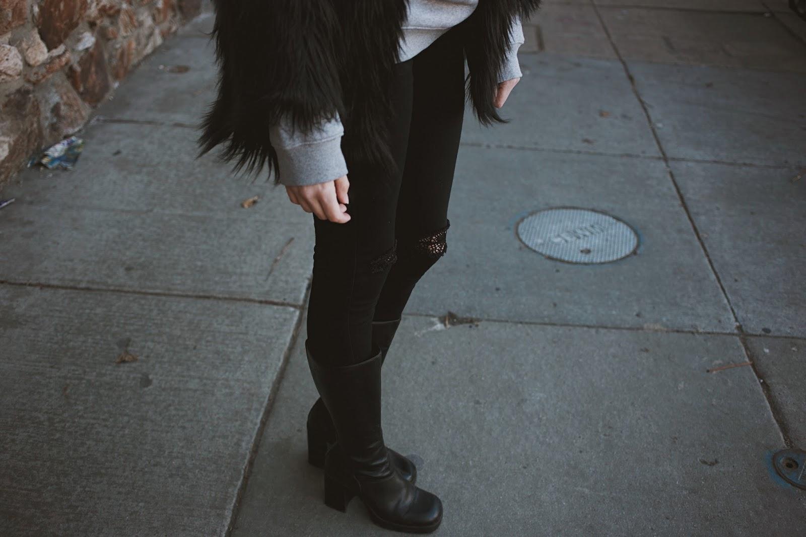 fur coat adidas vintage grunge