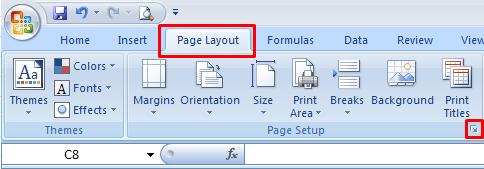 Page setup excel
