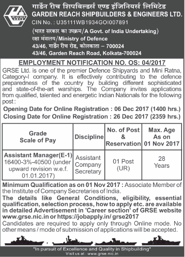 GRSE Ltd Asst Company Secretary Admit Card 2018