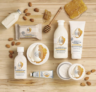 The Body Shop's 100% vegetarian Almond Milk & Honey range; formulated without colourants and  ideal to soothe sensitive skin