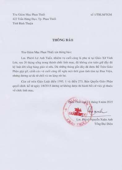 Thông báo V/v đăng nhầm hình ảnh Linh mục Phêrô Nguyễn Anh Tuấn