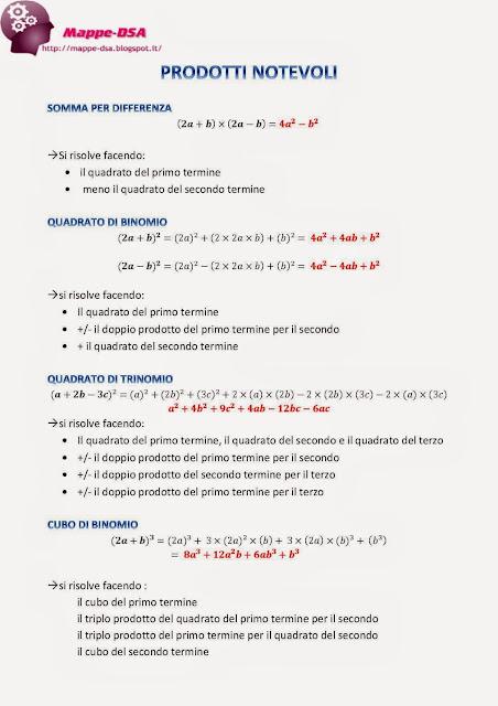 mappedsa mappa schema dsa dislessia discalculia prodotti notevoli algebra somma per differenza quadrato di binomio quadrato di trinomio cubo di binomio