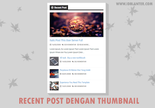 Recent post dengan thumbnail Widget free