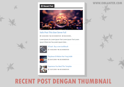 Recent post dengan thumbnail Widget