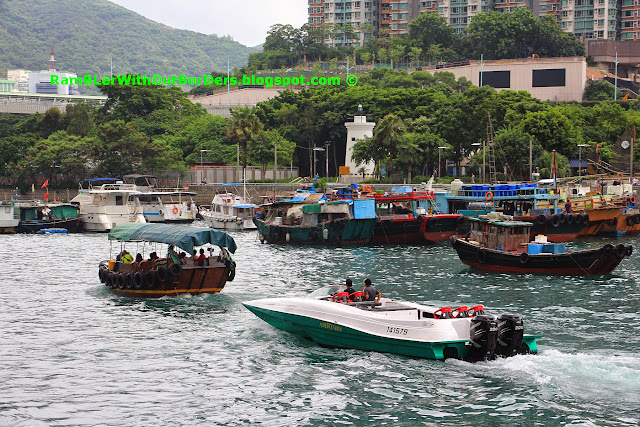 Speedboat in the harbour, Aberdeen Harbour, Hong Kong