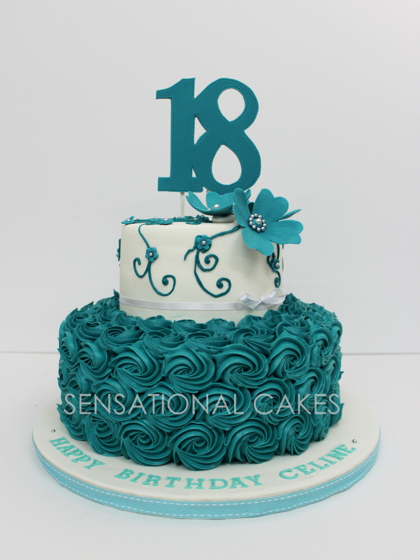 The Sensational Cakes 2 Tier 18th Birthday Turquoise