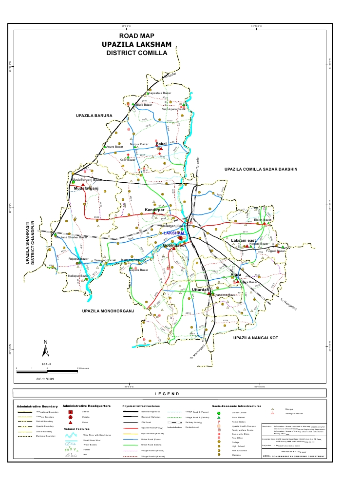 Laksham Upazila Road Map Comilla District Bangladesh
