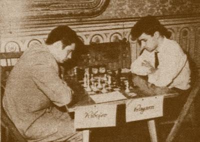 Match Internacional de Ajedrez España-Lisboa - Madrid 1962, partida Ribeiro - Bayarri