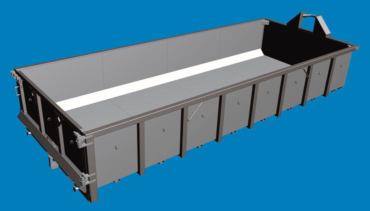 Усиленный самосвальный контейнер из HARDOX 400 на раме DIN 30722
