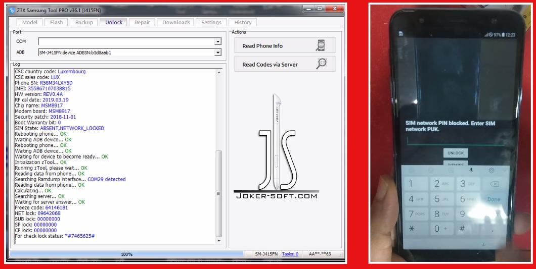 شرح فك شفرة هواتف سامسونج عن طريق الكرديت Z3X BOX Via Server