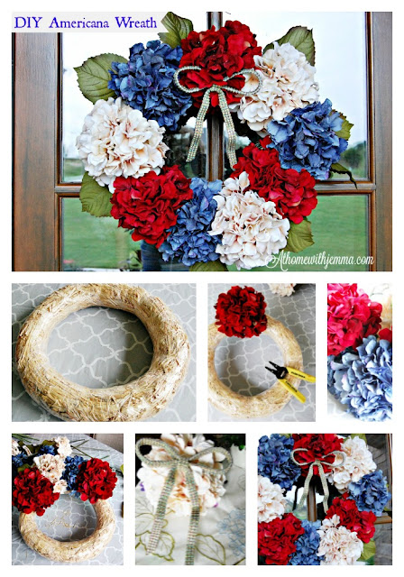 festive, colorful, hydrangea, red, blue, white, craft, easy, wreath