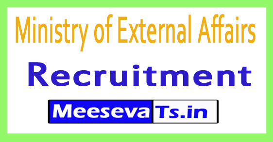 Ministry of External Affairs MEA Recruitment