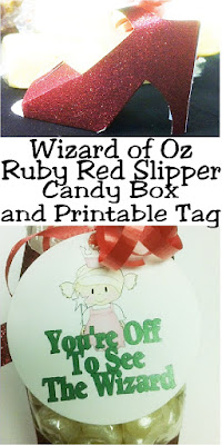 Go off to see the Wizard with these beautiful ruby red slippers carrying yummy candy perfect for your dessert table or party favors at your Wizard of Oz party. These favor candy boxes are so easy to make and are the perfect addition to your party decorations and party bags.