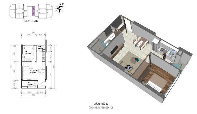 Thiết kế căn hộ K, diện tích 45m2 có 01 phòng ngủ
