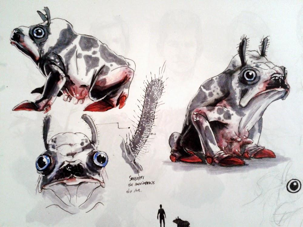 creature design, sketchbook, vaca, frog, sapo, cow, creature design, alien creature, sci-fi, douglas deri, deri, deriart