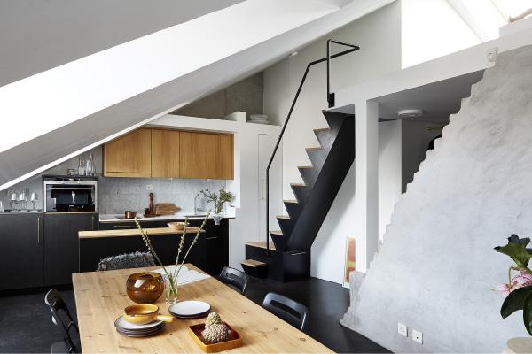 Elegante appartamento mansardato di 57mq a stoccolma for Arredamento moderno elegante