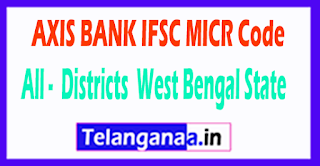 AXIS BANK IFSC MICR Code All Districts West Bengal State