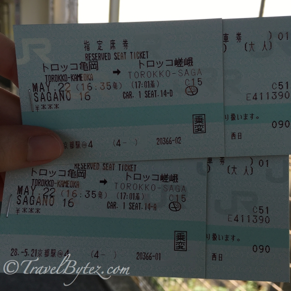 Sagano Scenic Railway tickets which cost 620¥ each.