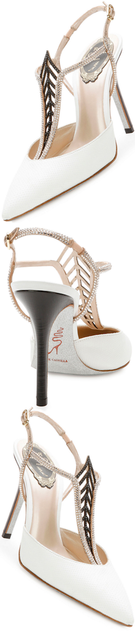 Rene Caovilla Jewel-Embellished Snakeskin Point-Toe Pump, White