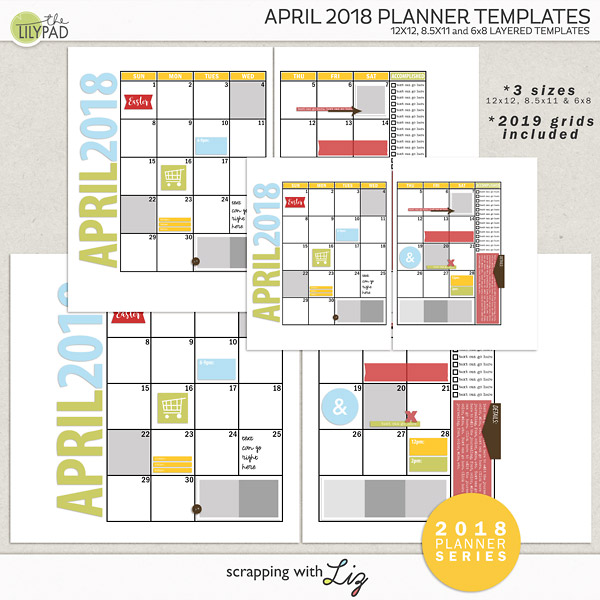 April 2018 Digital Scrapbook Planner Templates