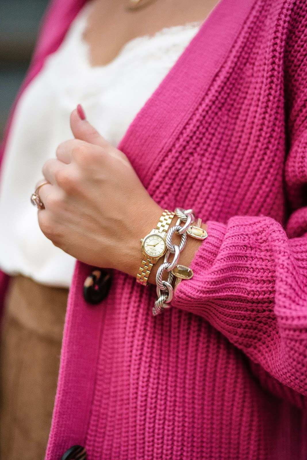 Michael Kors Petite Runway Gold Watch + Yurman Link Bracelet - Something Delightful Blog