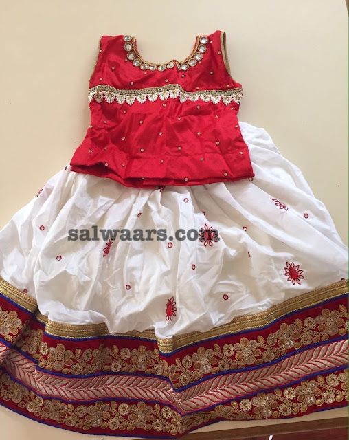White Silk Lehenga with Mirror work