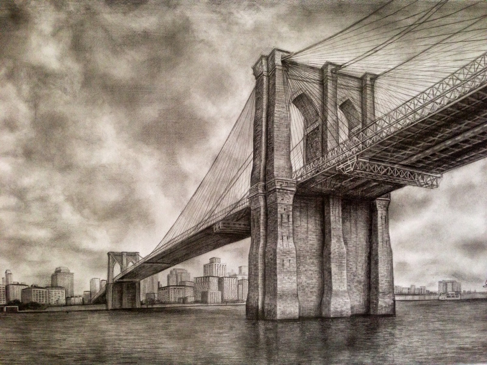 Brooklyn bridge pencil drawing