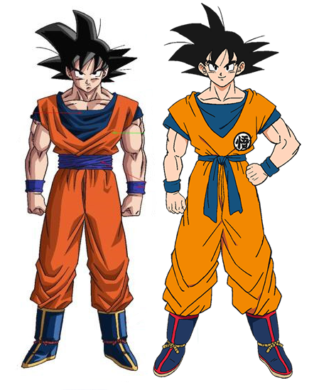 Son Goku dibujado por Yamamuro (izquierda) y Shintani (derecha).
