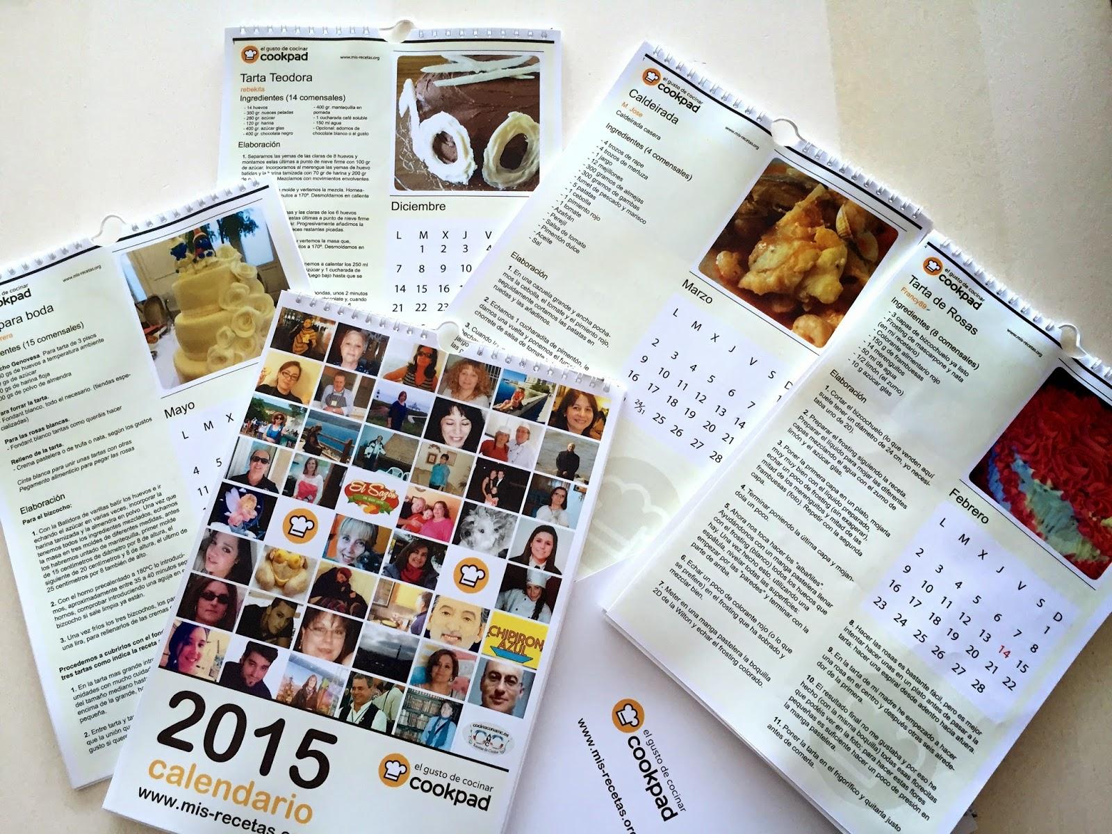 Calendarios de recetas Cookpad 2015