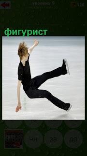 на лед падает фигурист мужчина во время исполнения танца