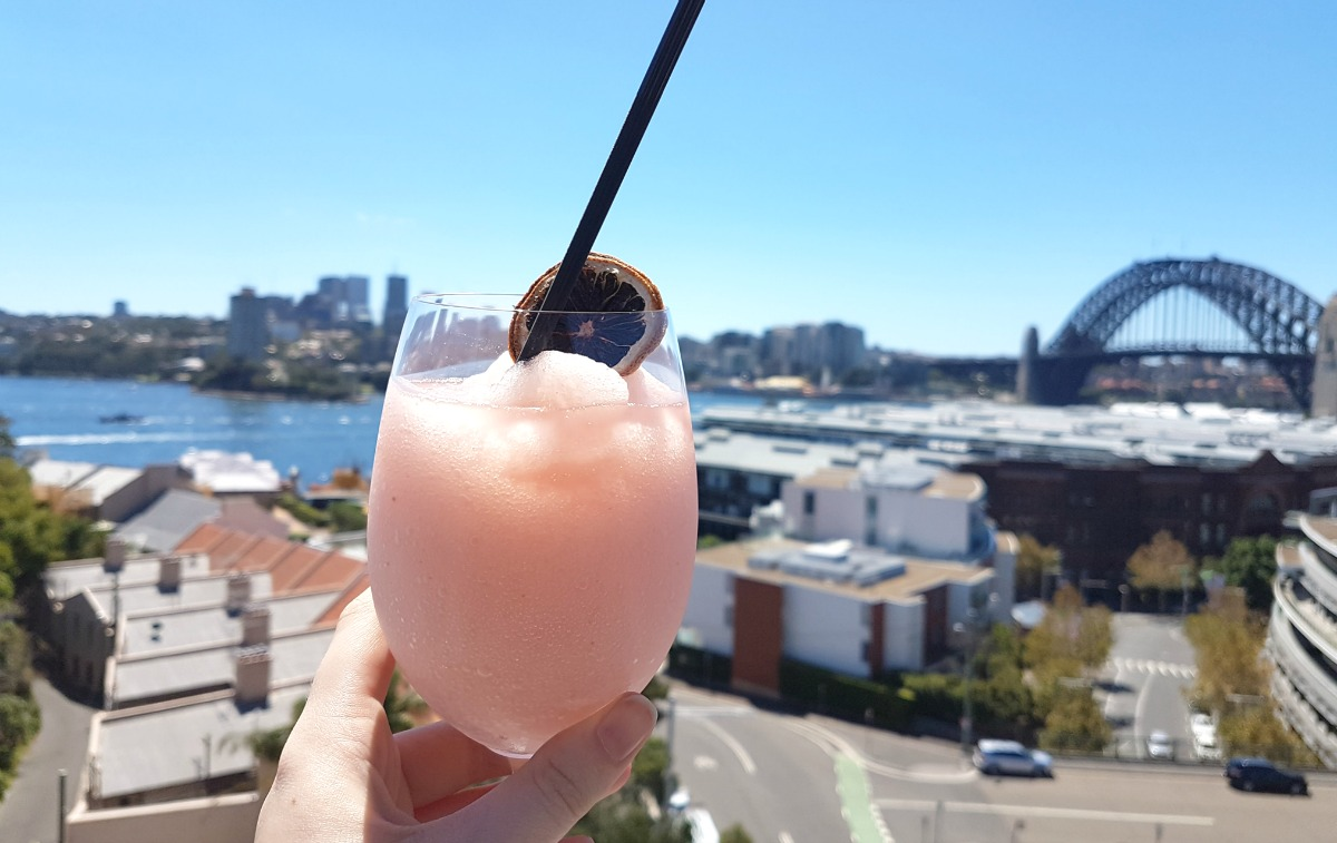 Frose at Henry Deane at Hotel Palisade looking out over Sydney Harbour Bridge and The Rocks