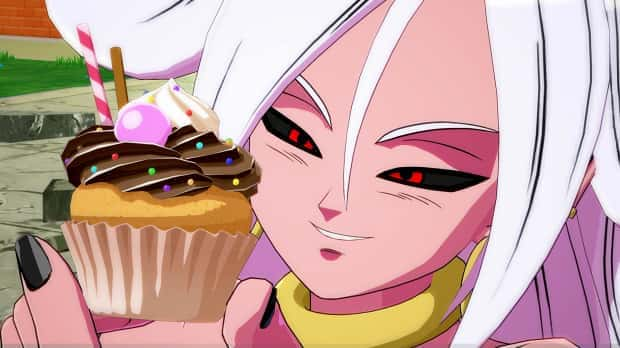 Android 21 eating a cupcake in Dragon Ball Fighterz